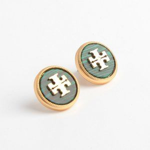 Tory Burch Logo Blue Earrings